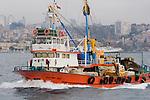 Bosphorus strait, commercial fishing boat, Istanbul, Turkey,