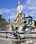 Italy, Tuscany, Florence: Neptune Fountain in Piazza Della Signoria | Italien, Toskana, Florenz: Neptun Brunnen auf der Piazza Della Signoria