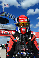 Sept 8, 2012; Clermont, IN, USA: NHRA funny car driver Bob Tasca III during qualifying for the US Nationals at Lucas Oil Raceway. Mandatory Credit: Mark J. Rebilas-