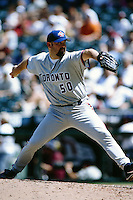 Joey Hamilton of the Toronto Blue Jays during a game against the Anaheim Angels at Angel Stadium circa 1999 in Anaheim, California. (Larry Goren/Four Seam Images)