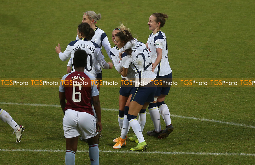 Tottenham Hotspur players celebrating their third goal during Tottenham Hotspur Women vs Aston Villa Women, Barclays FA Women's Super League Football at the Hive Stadium on 13th December 2020