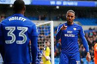 Kenneth Zohore of Cardiff City celebrates scoring his sides first goal of the match  with Junior Hoilett during the Sky Bet Championship match between Cardiff City and Burton Albion at the Cardiff City Stadium, Wales, UK. Friday 30 March 2018