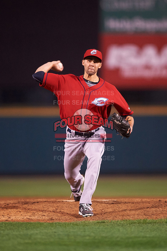 Columbus Clippers relief pitcher Ben Heller (44) delivers a pitch during a game against the Rochester Red Wings on June 14, 2016 at Frontier Field in Rochester, New York.  Rochester defeated Columbus 1-0.  (Mike Janes/Four Seam Images)