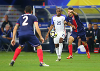 ARLINGTON, TEXAS - Saturday July 22, 2017: Darlington Nagbe #25 of USMNT moves the ball down field against the Costa Rica National Team in the second half of the match at AT&T Stadium.