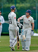 23rd September 2021; Aigburth, Liverpool, Merseyside, England; LV=Country Cricket Championship; Lancashire versus Hampshire; <br /> Lancashire captain Dane Vilas reassures new batting partner Matt Parkinson as the game goes into what would be the final over with Lancashire still a run short of victory
