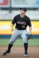 Kannapolis Intimidators first baseman Andrew Vaughn (14) on defense against the Augusta GreenJackets at SRG Park on July 6, 2019 in North Augusta, South Carolina. The Intimidators defeated the GreenJackets 9-5. (Brian Westerholt/Four Seam Images)