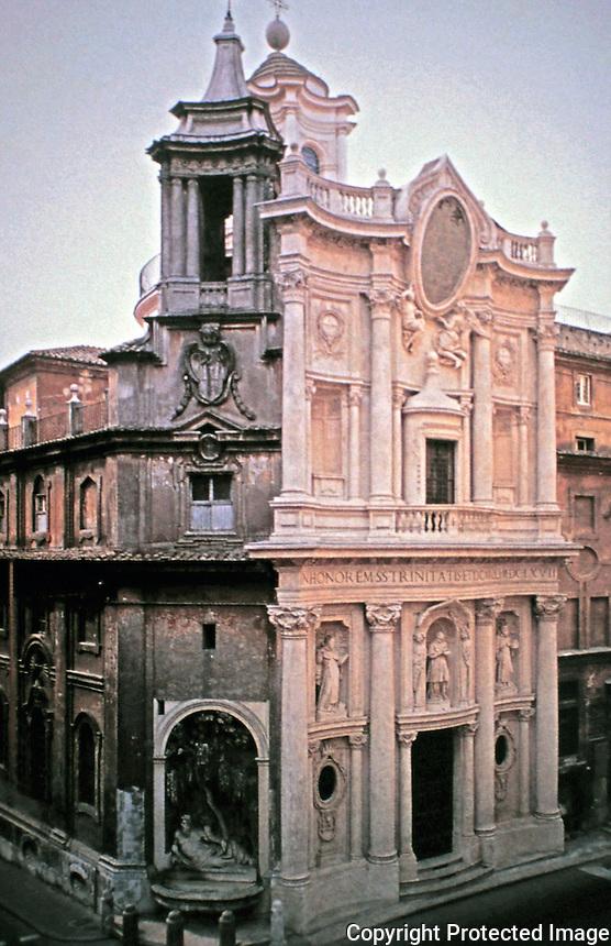 Baroque church of San Carlo alle Quattro Fontane, by Francesco Borromini, is located near the Four Fountains in Rome