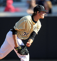 UCF Knights pitcher Jimmy Reed #34 delivers a pitch during a game against the Siena Saints at the UCF Baseball Complex on March 4, 2012 in Orlando, Florida.  Central Florida defeated Siena 15-2.  (Mike Janes/Four Seam Images)