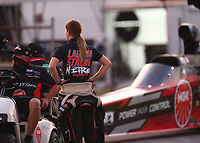 Sep 4, 2020; Clermont, Indiana, United States; NHRA top alcohol dragster driver Megan Meyer wears a Lagana Strong shirt during qualifying for the US Nationals at Lucas Oil Raceway. Mandatory Credit: Mark J. Rebilas-USA TODAY Sports