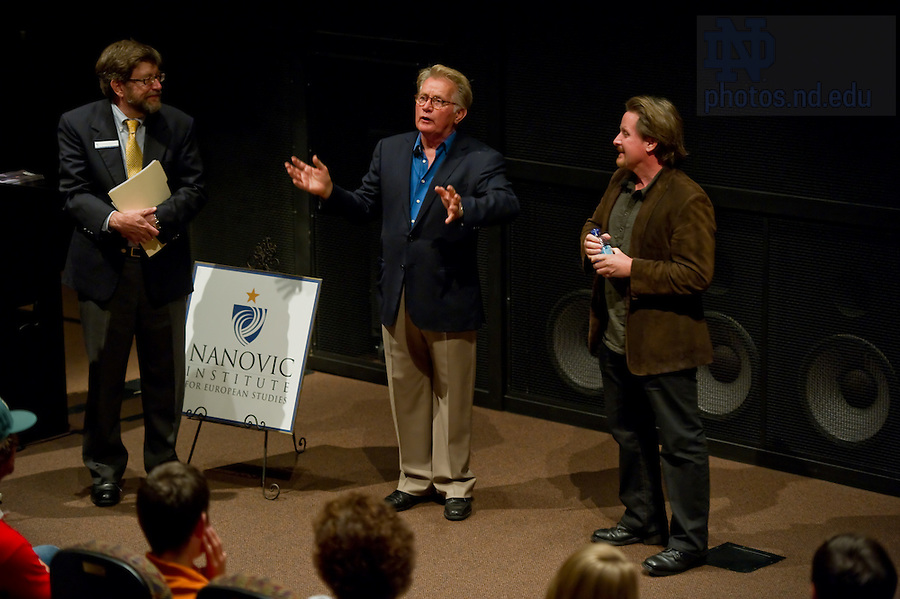 """Sept. 18, 2011; Actors Martin Sheen and Emilio Estevez take questions after a screening of their film """"The Way"""" in the Browning Cinema...Photo by Matt Cashore/University of Notre Dame"""