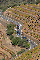 winding road tourist bus vineyards winding road quinta do noval douro portugal