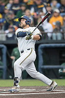 Michigan Wolverines catcher Harrison Wenson (7) smashes a home run to left center field against the Michigan State Spartans on May 19, 2017 at Ray Fisher Stadium in Ann Arbor, Michigan. Michigan defeated Michigan State 11-6. (Andrew Woolley/Four Seam Images)