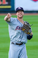 Colorado Springs Sky Sox outfielder Brett Phillips (8) warms up in the outfield prior to game one of a Pacific Coast League doubleheader against the Iowa Cubs on August 17, 2017 at Principal Park in Des Moines, Iowa. Iowa defeated Colorado Springs 1-0. (Brad Krause/Four Seam Images)