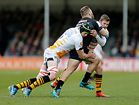 Photo: Richard Lane/Richard Lane Photography. Exeter Chiefs v Wasps. Gallagher Premiership. 14/04/2019.  Wasps' James Gaskell and Elliot Daly tackle Chiefs' Luke Cowen-Dickie.
