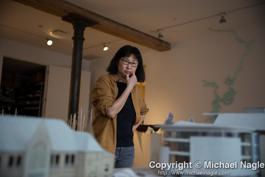NEW YORK, NY — FEBRUARY 25, 2020:  Architect Maya Lin poses for a portrait in her office on February 25, 2020 in New York City.  Photograph by Michael Nagle