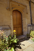 Oxford, Oxfordshire, England.Door in courtyard at Corpus Christi College, Oxford University..©Ellen B. Senisi