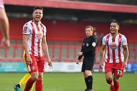Ben Coker of Stevenage FC scores the first Goal and celebratesBen Coker of Stevenage FC scores the first Goal and celebrates during Stevenage vs Concord Rangers , Emirates FA Cup Football at the Lamex Stadium on 7th November 2020