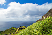 Brimstone Hill Fortress military post, a UNESCO World Heritage site above the turquoise sea, in Saint Kitts & Nevis Island, Caribbean Leeward Islands