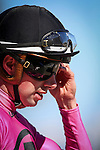 HALLANDALE FL - FEBRUARY 27: Jockey, Florent Geroux adjusts his goggles after winning the Herecomesthebirde Stakes aboard Catch a Glimpse at Gulfstream Park on February 27, 2016 in Hallandale, Florida.(Photo by Alex Evers/Eclipse Sportswire/Getty Images)