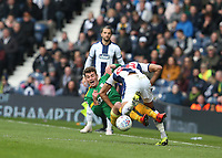 Preston North End's Ryan Ledson is bundled over by West Bromwich Albion's Mason Holgate<br /> <br /> Photographer Stephen White/CameraSport<br /> <br /> The EFL Sky Bet Championship - West Bromwich Albion v Preston North End - Saturday 13th April 2019 - The Hawthorns - West Bromwich<br /> <br /> World Copyright © 2019 CameraSport. All rights reserved. 43 Linden Ave. Countesthorpe. Leicester. England. LE8 5PG - Tel: +44 (0) 116 277 4147 - admin@camerasport.com - www.camerasport.com