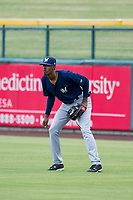 AZL Brewers right fielder Je'Von Ward (8) on defense during a game against the AZL Cubs on August 1, 2017 at Sloan Park in Mesa, Arizona. Brewers defeated the Cubs 5-4. (Zachary Lucy/Four Seam Images)