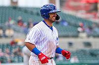 Iowa Cubs first baseman Phillip Evans (18) jogs to first base during a Pacific Coast League game against the San Antonio Missions on May 2, 2019 at Principal Park in Des Moines, Iowa. Iowa defeated San Antonio 8-6. (Brad Krause/Four Seam Images)