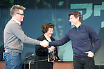 """January 9, 2013, Tokyo, Japan - (L-R) Christopher McQuarrie and Tom Cruise shake hands on stage during a press conference for """"Jack Reache""""r in Tokyo on Wednesday, January 9, 2013. McQuarrie and Cruise are in Japan to promote """"Jack Reacher"""" which is entitled """"Outlaw"""" for the Japanese market. The movie will be released on February 1st in Japan. (Photo by Rodrigo Reyes Marin/AFLO)"""