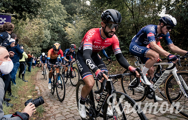 Nacer Bouhanni (FRA/Arkea-Samsic) up the mean (and newly introduced) Moskesstraat cobbles<br /> <br /> 60th De Brabantse Pijl 2020 - La Flèche Brabançonne (1.Pro)<br /> 1 day race from Leuven to Overijse (BEL/197km)<br /> <br /> ©kramon
