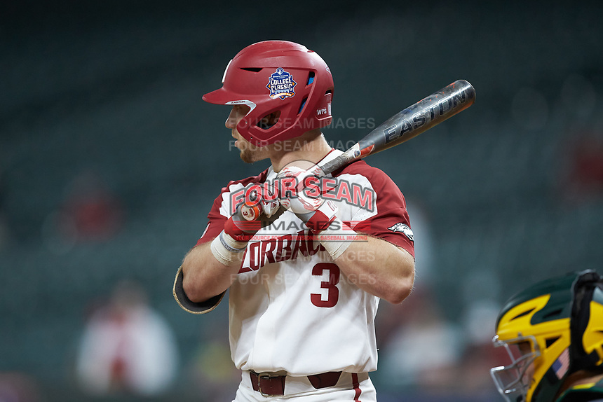 Zack Gregory (3) of the Arkansas Razorbacks at bat against the Baylor Bears in game nine of the 2020 Shriners Hospitals for Children College Classic at Minute Maid Park on March 1, 2020 in Houston, Texas. The Bears defeated the Razorbacks 3-2. (Brian Westerholt/Four Seam Images)