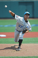 Hudson Valley Renegades pitcher Edgar Gomez (37) during game 2 of a double header against the Brooklyn Cyclones at MCU Park on July 8, 2014 in Brooklyn, NY.  Hudson Valley defeated Brooklyn 3-0.  (Tomasso DeRosa/Four Seam Images)