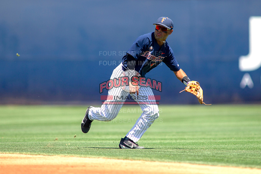 Cal State Fullerton Titans Sahid Valenzuela (4) on defense against the University of Washington Huskies at Goodwin Field on June 08, 2018 in Fullerton, California. The University of Washington Huskies defeated the Cal State Fullerton Titans 8-5. (Donn Parris/Four Seam Images)