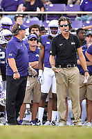 TCU Offensive Coordinator Doug Meacham (on right in black shirt) and Head Coach Gary Patterson (on left) during second half of an NCAA football game, Saturday, October 18, 2014 in Fort Worth, Tex. TCU defeated Oklahoma State 42-9. (Mo Khursheed/TFV Media via AP Images)