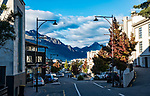 Early morning view down Duke Street in Queenstown, in autumn