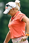 USA Natalie Gulbis reacts after missing her putt on the 3rd hole at the LPGA Championship 2011 Sponsored By Wegmans at Locust Hill Country Club in Rochester, New York on June 25, 2011