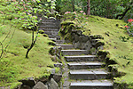 Stone stairs.  The Japanese Garden in Portland is a 5.5 acre respit.  Said to be one of the most authentic Japanese Garden's outside of Japan, the rolling terrain and water features symbolize both peace and strength. Public, city facility