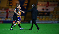 Lincoln City's Harry Anderson, left, and Lincoln City manager Michael Appleton at the end of the game<br /> <br /> Photographer Andrew Vaughan/CameraSport<br /> <br /> EFL Trophy Northern Section Group E - Mansfield Town v Lincoln City - Tuesday 6th October 2020 - Field Mill - Mansfield  <br />  <br /> World Copyright © 2020 CameraSport. All rights reserved. 43 Linden Ave. Countesthorpe. Leicester. England. LE8 5PG - Tel: +44 (0) 116 277 4147 - admin@camerasport.com - www.camerasport.com