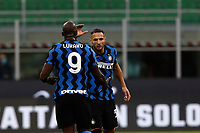 Calcio, Serie A: Inter Milano - AC Milan , Giuseppe Meazza (San Siro) stadium, in Milan, October 17, 2020.<br /> Inter's Romelu Lukaku (l) celebrates after scoring with his teammates Danilo D'ambrosio (r) during the Italian Serie A football match between Inter and Milan at Giuseppe Meazza (San Siro) stadium, October 17,  2020.<br /> UPDATE IMAGES PRESS/Isabella Bonotto
