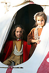 Native American Indian boy and girl tipi doorway