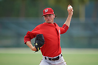 GCL Nationals starting pitcher Jared Johnson (55) delivers a pitch during the second game of a doubleheader against the GCL Marlins on July 23, 2017 at Roger Dean Stadium Complex in Jupiter, Florida.  GCL Nationals defeated the GCL Marlins 1-0 as Johnson combined with Gilberto Chu (not pictured) to throw a seven inning no-hitter.  (Mike Janes/Four Seam Images)