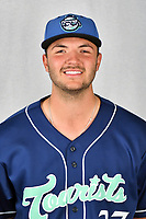 Asheville Tourists pitcher Riley Pint (27) during media day at McCormick Field on April 2, 2019 in Asheville, North Carolina. (Tony Farlow/Four Seam Images)