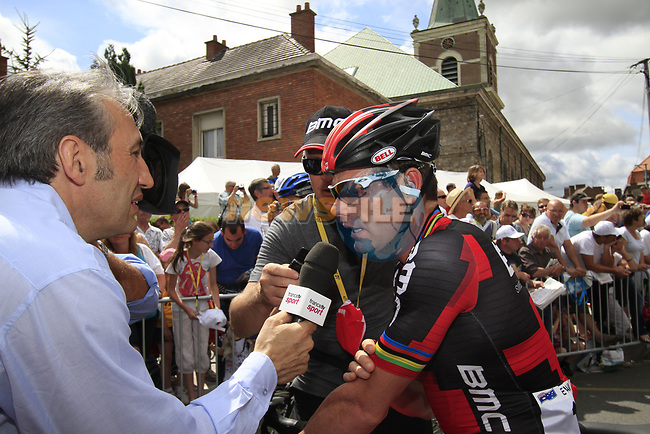 Cadel Evans (AUS) BMC Racing Team makes his way to sign on before the start of Stage 3 of the 99th edition of the Tour de France 2012, running 197km from Orchies to Boulogne-sur-Mere, France. 3rd July 2012.<br /> (Photo by Eoin Clarke/NEWSFILE)
