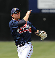 July 15, 2009: Infielder Randy Gress (10) of the Danville Braves, rookie Appalachian League affiliate of the Atlanta Braves, before a game at Dan Daniel Memorial Park in Danville, Va. Photo by:  Tom Priddy/Four Seam Images