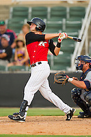 Joe De Pinto (5) of the Kannapolis Intimidators follows through on his swing against the Rome Braves at CMC-Northeast Stadium on August 5, 2012 in Kannapolis, North Carolina.  The Intimidators defeated the Braves 9-1.  (Brian Westerholt/Four Seam Images)