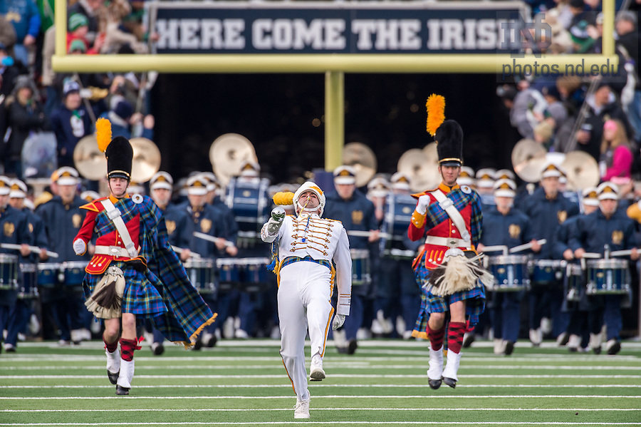 Nov. 15, 2014; The Notre Dame Marching Band takes the field before the football game against Northwestern. (Photo by Matt Cashore)