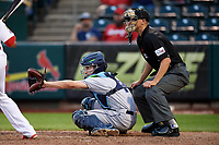 Corpus Christi Hooks catcher Garrett Stubbs (1) and home plate umpire Tyler Olson during a game against the Springfield Cardinals on May 31, 2017 at Hammons Field in Springfield, Missouri.  Springfield defeated Corpus Christi 5-4.  (Mike Janes/Four Seam Images)