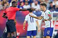5th September 2021; Nashville, TN, USA;  United States forward Christian Pulisic (10) argues a call with the referee during a CONCACAF World Cup qualifying match between the United States and Canada on September 5, 2021 at Nissan Stadium in Nashville, TN.