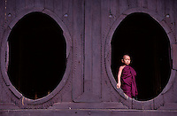 Images from the Book Journey Through Colour and Time,.Buddhist Novive Monk at Monastary Kalaw Burma Myanmar
