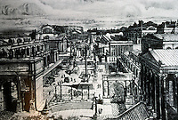 Italy: Rome--Forum Romanum from Capitoline Hill, late Empire. Grant Center, foreground; the curved back of the Rostra; cone of the Golden Milestone. Reference only.