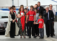 """Pictured: Lorraine Barrett (L) Rhofdri Morgan's wife Julie (2nd), Prys Morgan, the brother of Rhodri Morgan (R)with relatives after the service. Wednesday 31 May 2017<br /> Re: The funeral for former first minister Rhodri Morgan has taken place in the Senedd in Cardiff Bay.<br /> The ceremony, which was open to the public, was conducted by humanist celebrant Lorraine Barrett.<br /> She said the event was """"a celebration of his life through words, poetry and music"""".<br /> Mr Morgan, who died earlier in May aged 77, served as the Welsh Assembly's first minister from 2000 to 2009.<br /> He was credited with bringing stability to the fledgling assembly during his years in charge.<br /> It is understood Mr Morgan had been out cycling near his home when he died."""