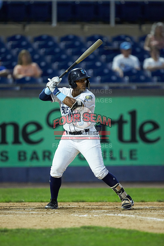 Dennicher Carrasco (16) of the Wilmington Blue Rocks at bat against the Fayetteville Woodpeckers at Frawley Stadium on June 6, 2019 in Wilmington, Delaware. The Woodpeckers defeated the Blue Rocks 8-1. (Brian Westerholt/Four Seam Images)